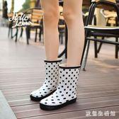 韓版時尚女士雨鞋女中筒成人水靴女夏季防滑雨靴女水鞋女式 nm3001 【歐爸生活館】