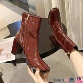 高跟裸靴 裸靴2021秋冬季新款粗跟高跟鞋漆皮方頭小短靴春秋季單靴馬丁靴女 coco