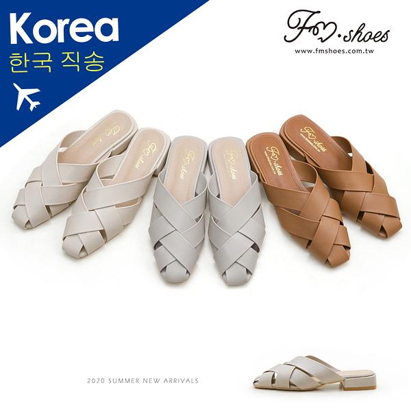 穆勒鞋.交叉編織寬帶穆勒鞋(杏、棕)-大尺碼-FM時尚美鞋-韓國精選.Heart