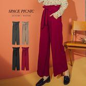 長褲 Space Picnic|素面打折腰鬆緊寬褲-附綁帶(預購)【C18112072】