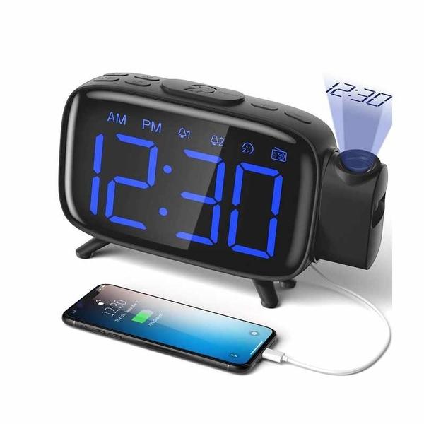 投影鬧鐘 Projection Alarm Clock Radio Alarm Clock Digital Clock with Power Adapter [2美國直購]