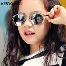 時尚兒童新款金屬框墨鏡女童防紫外線眼鏡男大童個性韓版太陽鏡【米蘭街頭】
