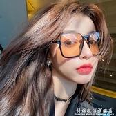 復古茶色墨鏡女個性下半框眼鏡網紅街拍ins大框圓臉顯瘦太陽鏡潮 科炫數位