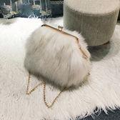 小包包女新款毛毛包韓版鑚條單肩包時尚毛絨包秋冬斜挎女包潮 衣櫥秘密