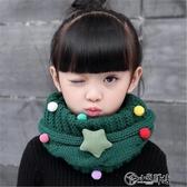 兒童圍巾 保暖兒童圍巾秋冬季韓版男童女童針織毛線脖套寶寶滿天星卡通圍脖