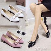 春季韓版女單鞋低跟百搭尖頭蝴蝶結淺口平底休閒小皮鞋女鞋潮 可可鞋櫃