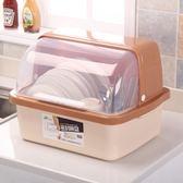 廚房放碗櫃塑料碗架瀝水架帶蓋家用裝碗碟碗筷收納盒餐具箱置物架  color shopYYP