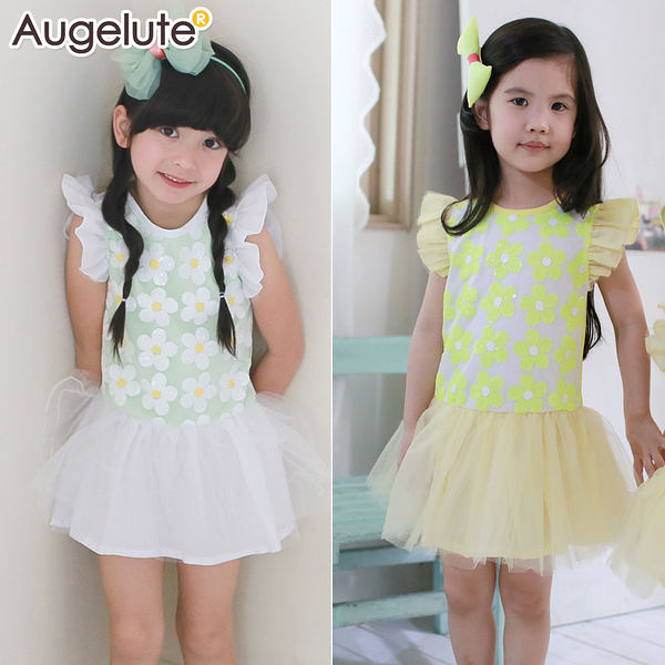 小飛袖洋裝 夏日 手工亮片 花朵 女童 連身裙 連衣裙 洋裙 Augelute 42144