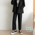 西裝褲 黑色垂墜感寬管褲女2019夏季高腰直筒休閒西裝褲寬鬆九分cec褲子 S-3XL
