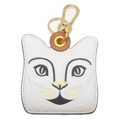 LOEWE 羅威 白色貓臉牛皮雙色吊飾 Cat Bag Charm Keyring【BRAND OFF】