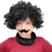 【塔克】爆炸頭 暴牙蘇 搞笑人物裝扮 假髮+假鬍子+暴牙 (三件套餐) 萬聖節/派對/服裝/角色扮演