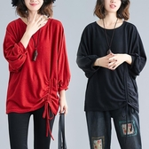 秋冬文藝薄款不對稱燈籠袖針織衫寬鬆胖mm純色抽繩褶皺套頭上衣女 折扣好價