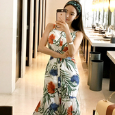 氣質洋裝連身裙正韓版7990#夏裝韓版氣質修身中長款系帶收腰印花吊帶裙連身裙NE49快時尚