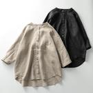 純亞麻插肩袖襯衫 寬鬆大碼立領七分袖防曬衫日系棉麻女夏1829 設計師