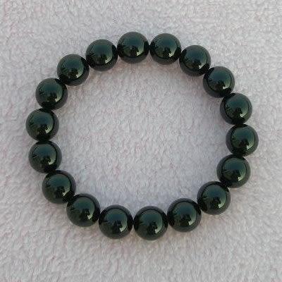 【歡喜心珠寶】【天然巴西黑碧璽圓珠10mm手鍊】18顆.重約32g.人稱為養生石.電氣石「附保証書」