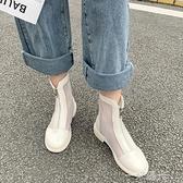馬丁靴涼鞋女仙女風網紗女鞋2020春季新款小跟涼靴百搭鏤空靴網靴 聖誕節免運