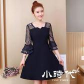 大碼短袖洋裝 刺繡裙子春裝夏季時尚小心機網紗繡花連身裙