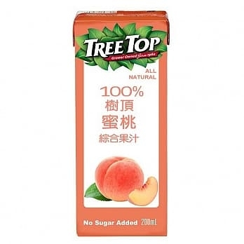 【免運直送】樹頂100%蜜桃果汁200ml*(24入/箱)*2箱