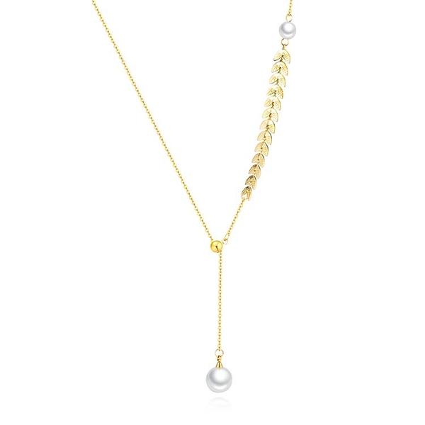 【5折超值價】時尚精美柳葉珍珠造型女款鈦鋼項鍊