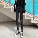 年新款高腰破洞牛仔褲女灰黑色小腳緊身顯瘦 淇朵市集