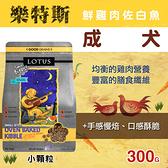 【毛麻吉寵物舖】LOTUS樂特斯 鮮雞肉佐白魚成犬-小顆粒-300克 狗飼料/WDJ推薦/狗糧