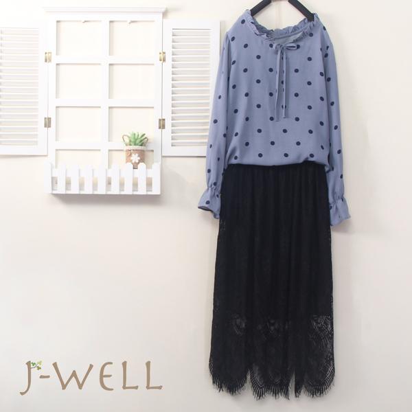 J-WELL 點點荷葉上衣蕾絲裙二件組(組合B018 9J1028藍+8J1564黑)