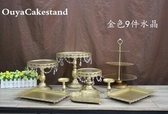 金色婚禮甜品台擺件歐式蛋糕架婚慶道具蕾絲蛋糕盤鐵藝點心架12套