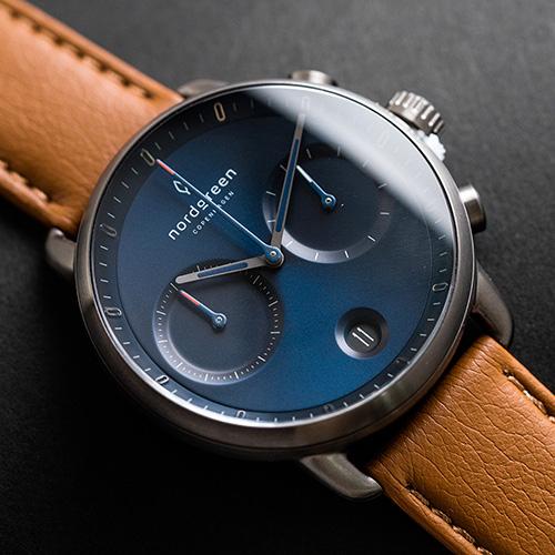 Nordgreen 42mm 復古棕純素錶帶 Pioneer先鋒 北歐設計師手錶 藍寶石鏡面 計時錶 深空灰殼 北歐藍錶盤