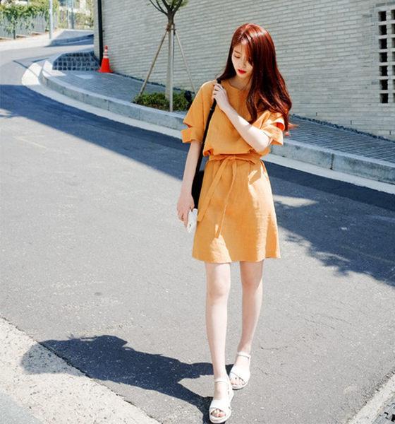 【Fabulous!!】韓版涼爽棉麻極簡橘子好氣色連身後開叉洋裝