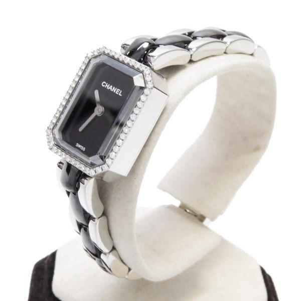 CHANEL香奈兒黑色陶瓷不鏽鋼鑲鑽石英腕錶Premiere Mini H2163 【二手名牌BRAND OFF】