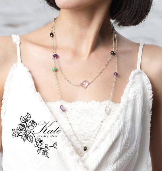 長鍊毛衣鏈 天然紫水晶粉晶天河石橄欖石 可當手鍊 獨一無二精緻手工 925純銀寶石項鍊 KATE銀飾