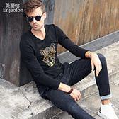 秋季男式時尚圖案潮牌 修身刺繡印花中國風長袖T恤打底衫 免運