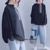 依酷衫 衛衣T恤 秋新款 文藝大碼印花蝙蝠袖t恤遮肚顯瘦上衣