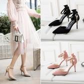 高跟鞋春季歐美尖頭包頭細跟高跟鞋一字扣帶涼鞋女中空百搭女鞋新年禮物