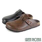 U60-28401 女款懶人拖鞋 簡約質感單皮帶釦前包後空拖鞋/穆勒鞋【GREEN PHOENIX】