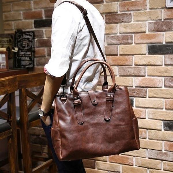 FINDSENSE Z1 韓國 時尚 潮 男 皮質 複古咖啡色 手提包 單肩包