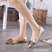 尖頭平底鞋金屬亮片平跟鞋金色 皮帶扣單鞋女鞋『CR水晶鞋坊』
