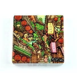 【收藏天地】台灣紀念品*陶瓷杯墊冰箱貼-九份童年回憶