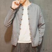 秋裝長袖盤扣立領夾克青年唐裝