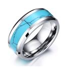 《 QBOX 》FASHION 飾品【RTCR-023】精緻個性簡約鑲間綠松石拋光鎢鋼戒指/戒環