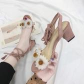 花朵綁帶涼鞋女夏粗跟中跟羅馬仙女露高跟鞋