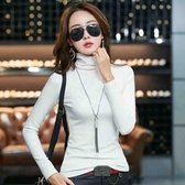 長袖T恤 高領打底衫女秋冬新款加絨加厚白色修身長袖T恤韓版純色緊身秋衣 雙十一