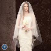 新娘頭紗韓式中短頭紗多層蕾絲婚紗頭飾帶髮梳結婚頭紗  居家物語