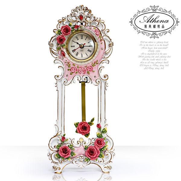 【雅典娜家飾】復古粉紅玫瑰鐘擺座鐘-GA30