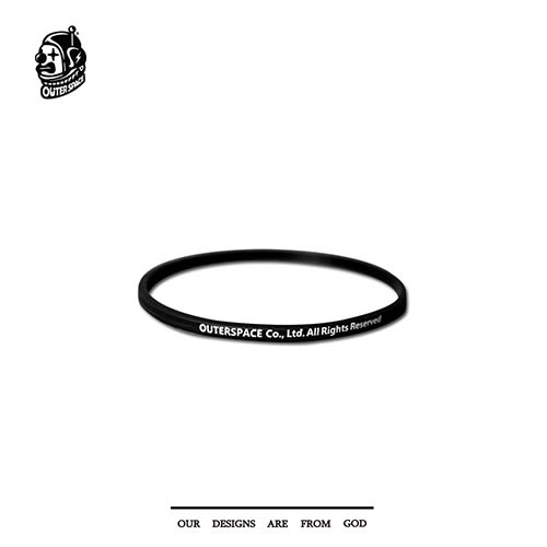 OUTER SPACE 標語運動手環 (黑/黑)