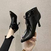 裸靴 尖頭軟皮細跟時尚短靴女潮2020新款秋冬季加絨鞋子百搭高跟馬丁靴 降價兩天