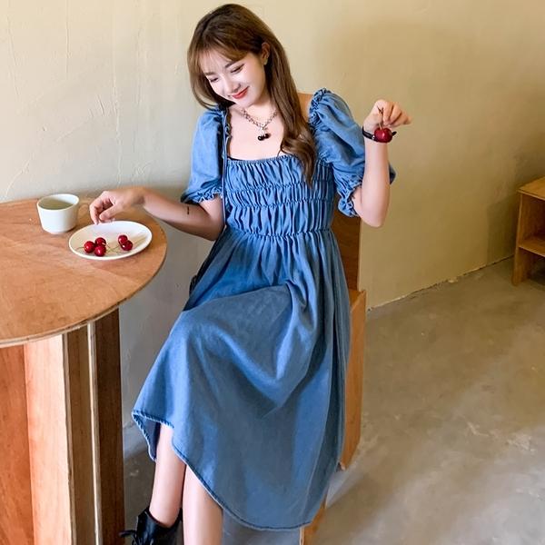 方領洋裝連身裙L-4XL胖mm寬松遮肉中長款a字牛仔連身裙R032.5192 依品國際