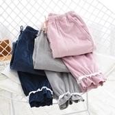睡褲睡褲女士秋冬季海島絨法蘭絨家居褲長褲保暖蕾絲花邊素色寬鬆收口 春季新品