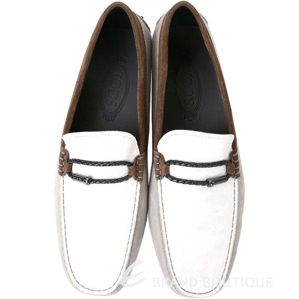 TOD'S Gommino 撞色麂皮豆豆休閒鞋(男鞋/白x灰x咖) 1620294-48