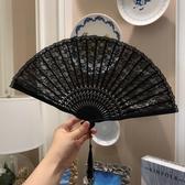 黑色蕾絲舞蹈古風折扇日式